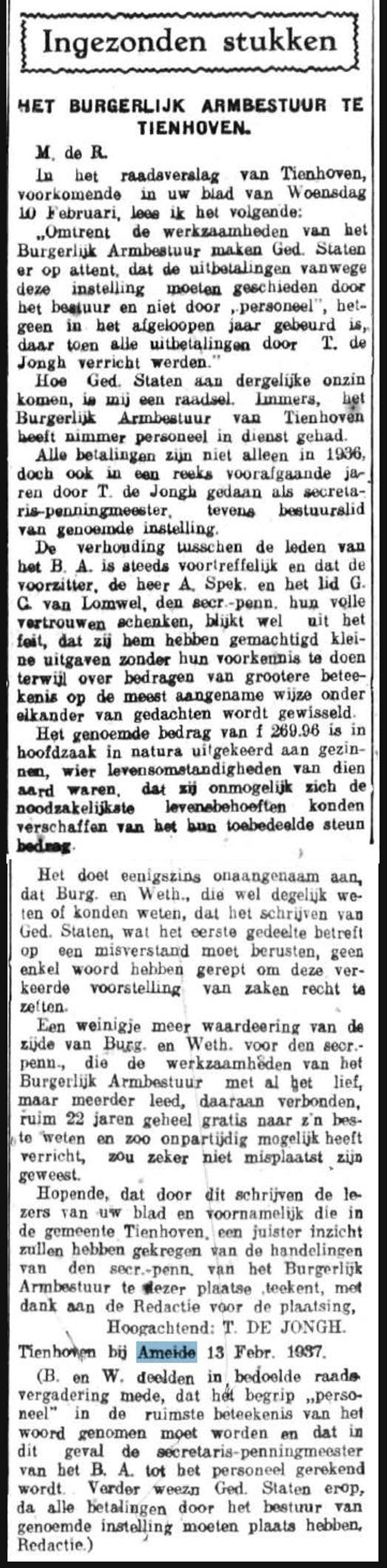 Schoonhovensche Courant 07772 1937-02-15 artikel 01